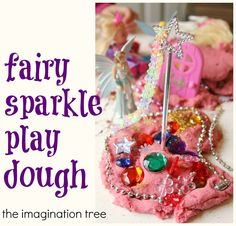 Here's a magical invitation to play for children who is interested by fairies, princesses and sparkles! Combining play dough, sensory play, motor skills and creative storytelling in one play prompt, this Fairy Play Dough is a great way to engage little ones in learning and creativity as they play!