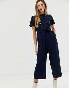 Warehouse cropped jumpsuit with belt in navy 10f0cb6eeed1