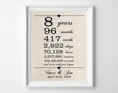8 Years Together Cotton Gift Print 8th Anniversary Gifts Year