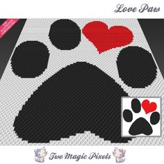 Love Paw crochet blanket pattern; c2c, cross stitch; graph; pdf download; no written counts or row-by-row instructions by TwoMagicPixels, $2.99 USD