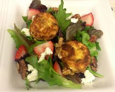 Kiss My Apron: Fried Goat Cheese (over salad)
