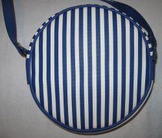 LORD & TAYLOR NAUTICAL SHOULDER BAG ROUND BLUE WHITE STRIPES SPRING SUMMER XBODY #eBay #bargains #free shipping! #handbags #petitbateau #purses