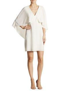 HALSTON HERITAGE Cape Sleeve Crepe Dress. #halstonheritage #cloth #dress