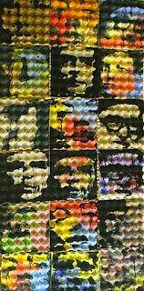 Les Eux par Claude Thiel de Neuville (portraits sur plateaux alvéolés 30 oeufs)