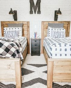 Farmhouse Style Bedrooms, Bedroom Makeover, Home, Shared Boys Rooms, Twin Boys Bedroom, Boy Room, Home Decor, Twins Room, Brothers Room