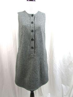 Gap Wool Blend Jumper Dress Button Tweed Black Gray Size 2 Excellent #Gap #WeartoWork