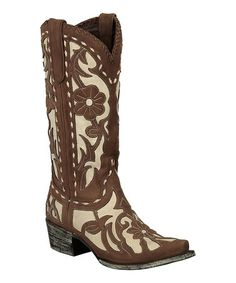 Another great find on #zulily! Brown & Ivory Floral Poison Cowboy Boot - Women by Lane Boots #zulilyfinds
