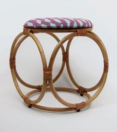 Rattan and Ikat stool. Purple and Green Zebra by Mitsein on Etsy