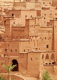 Aït Benhaddou is a fortified city, or ksar, along the former caravan route between the Sahara and Marrakech in present-day Morocco.
