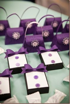 Tuxedos and purses party favors
