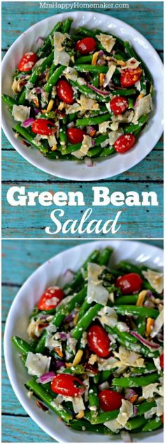 This Green Bean Salad is a spin on one of Jamie Deen's recipes and it is oh-so delicious! Super easy and a must make. | MrsHappyHomemaker.com @thathousewife