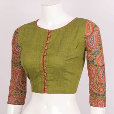 Hand Block Printed Cotton Blouse With Full Sleeve 10018873 Size - 38 - profile - AVISHYA.COM Simple Blouse Designs, Sari Blouse Designs, Saree Blouse Patterns, Designer Blouse Patterns, Blouse Styles, Cotton Saree Blouse, Cotton Blouses, Princess Cut Blouse, Printed Blouse
