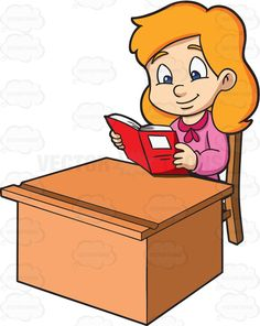 A Girl Enjoying Her Time While Reading Notes Reading Cartoon, Reading Notes, Stock Art, Vector Illustrations, Her Smile, Vector Graphics, Clip Art, Pink, Pink Hair