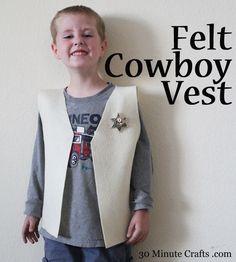 Felt Cowboy Vest Tutorial - Make it in 15 minutes!