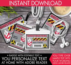 Ghostbuster Badges - Ghostbuster ID Badge, Ghostbuster Party Favor, Ghostbusters Birthday, Ghost #2 - Instant Download DIY Printable PDF Kit... $3.50