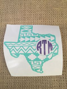 Aztec monogram Texas tumbler or car decal  *As shown: mint Texas and glitter purple monogram     Please leave Texas and monogram color chooses and monogram initials in notes to seller     ***monogram is First/Last/Middle names***    ****WE SHIP FOR FREE****   Shop this product here: spreesy.com/Trottistreaures/24   Shop all of our products at http://spreesy.com/Trottistreaures      Pinterest selling powered by Spreesy.com