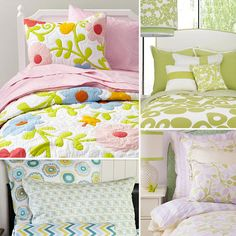 Spring Bedding for Kids Rooms. Love the mulit-color,big flower, quilt style!