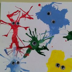 Blow paint with a straw, let dry, and add googly eyes. Daycare Crafts, Toddler Crafts, Crafts For Kids, Monster Crafts, Monster Art, Blow Paint, Alien Crafts, Space Activities, Crafty Kids