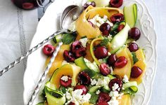 Rachel Khoo's summer salad with feta and pickled cherries. Follow link for full recipe from appetite, North East England's dedicated food & drink publication.