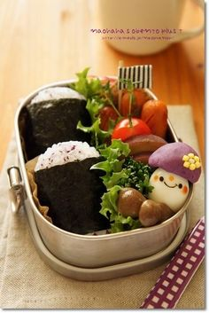 "Cute purple potato & quail egg ""mushroom"" & yukari rice ball bento box"