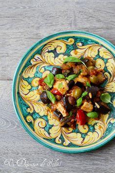 Salade de poulet et caponata sicilienne
