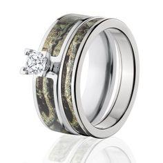 Mossy Oak Break Up Infinity Camo Bridal Set, Womens Camouflage Wedding Rings