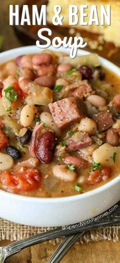 "Ham and Bean Soup is one of our all time favorite foods to come home to on a chilly day. This ""no-soaking required"" Ham and Bean soup takes just minutes to prepare and cooks effortlessly in your Crock Pot all day long! Dinner is ready when you are! Crock Pot Recipes, Bean Soup Recipes, Healthy Soup Recipes, Cooker Recipes, Diced Ham Recipes, Quick Recipes, Nine Bean Soup Recipe Crock Pot, Food Lovers Recipes, Crock Pot Healthy"