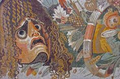 Roman Mosaic (Detail of a Mask) Excavated @ Pompeii, Italy. -- Current Location: The National Archaeological Museum of Naples