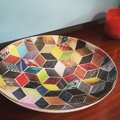 DIY: Decoupage Modern Glass Bowl via DIY-Modern.com