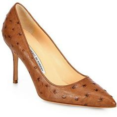 Stunning Manolo Blahnik heels in ostrich leather.