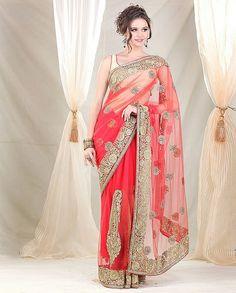 Meena Bazaar-Bridal Saree with Paisley on Ghera