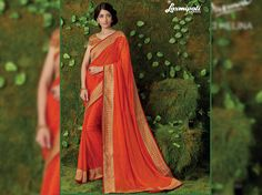 Impress all with your amazing traditional look by draping this Orange Brasso Saree that earn you loads of plaudits from onlookers. Laxmipati Sarees, Fall Winter, Autumn, Traditional Looks, Printed Sarees, Occasion Wear, Draping, Print Design, Chiffon