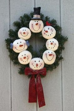 Snowman Wreath...cute could use machine embroidered snowballs or styrofoam