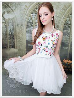 Mango Doll - White Floral Gauze Sleeveless Dress, $62.00 (http://www.mangodoll.com/all-items/white-floral-gauze-sleeveless-dress/)