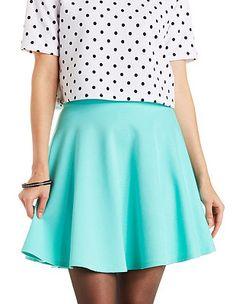 Ponte Knit Skater Skirt: Charlotte Russe