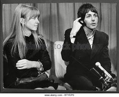 Paul Mccartney And Girlfriend Jane Asher Pictured Together At A Press Conference At London Airport The Couple Had Just Returned - Stock Image