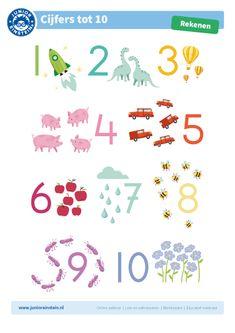 Cijferkaart tot en met 10 - Goed leren tellen is de basis voor het vak rekenen. Onze gratis cijferposter met duidelijk herkenbare illustraties zorgen voor een positieve prikkel om te beginnen met tellen. Het leren tellen is een kwestie van constant herhalen, hang deze poster daarom op in de klas, in de slaapkamer of op de wc! First Grade Math Worksheets, Montessori Playroom, Little King, School Readiness, Teaching Materials, Math Classroom, Kids Education, Teaching Math, Math Activities