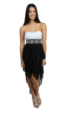 black and white strapless sequin party dress with hanky hemline