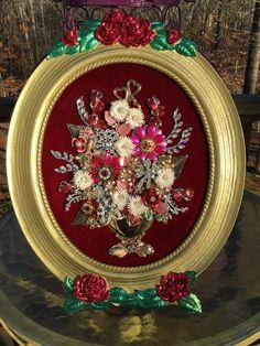 Vintage Rhinestone Jewelry Christmas Tree Art - Floral Arrangement Art By Tami…