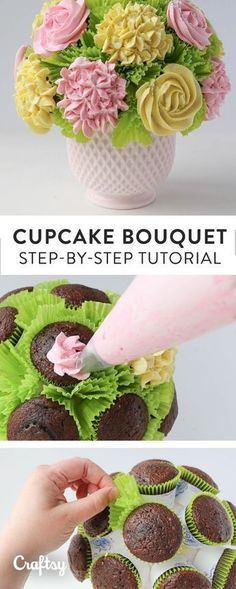 How Sweet Is This DIY Cupcake Bouquet? Bring the centerpiece AND the dessert! Get super simple step-by-step instructions for how to make a cupcake bouquet with roses and hydrangeas. Cupcake Flower Bouquets, Flower Cupcakes, Diy Flowers, Hydrangea Cupcakes, Strawberry Cupcakes, Easter Cupcakes, Christmas Cupcakes, Food Bouquet, Ranunculus Bouquet