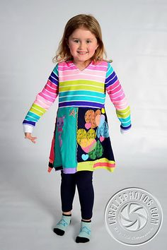 Girls Recycled, Funky Hooded, Dress, Size 5, By the Upcycled Closet