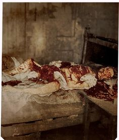 Colorized crime scene photo of Mary Jane Kelly, widely believed to be the 5th and final victim of Jack the Ripper. NSFW