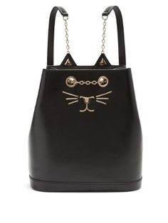 Matches - shortlisted for best luxury lust haves. Best of Pinterest UK Style Awards. Feline leather backpack | Charlotte Olympia | MATCHESFASHION.COM UK