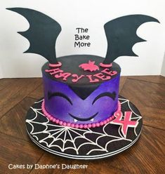 The Bake More: Easy Vampirina Cake with Spiderweb Drum - Birthday - first birthday cake-Erster Geburtstagskuchen Bolo Halloween, Halloween Birthday Cakes, Fete Halloween, Birthday Cake Girls, First Birthday Cakes, 4th Birthday, Birthday Ideas, Holiday Cakes, Girl Cakes