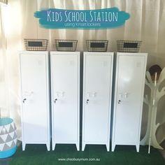 Kmart Top Homewares lockers for school organisation station or school drop zone using the Kmart metal white lockers. Best Kmart hack for kids!