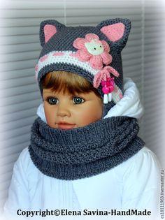 """Купить """"Котёнок"""" №5 - шапочка+снуд серо/белые+розовый - серый, шапочка, вязаная шапочка, шапочка крючком"""
