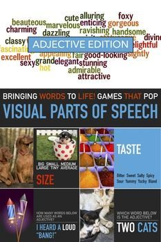 Adjective Lesson. Adjective Game. Visual English. Parts of Speech. English Powerpoint Lesson. Elementary English Lesson. ESL Grammar. Sub Plan. This is a visual powerpoint adjectives lesson  using great graphics to teach adjectives.