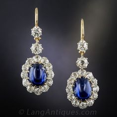 11.48 Carat Natural Cabochon Sapphire and Diamond Antique Drop Earrings