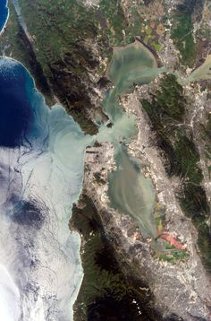San Francisco❤                            The San Francisco Bay Area from space via NASA