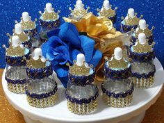 12 Royal Prince Baby Shower Favor Cups   Perfect For Boys Royal Blue And  Gold Baby Shower Theme And Prince Decorations